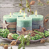 Four green candles